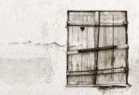 Timber hatch or shutter with heart inside it