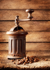 Old rusty coffee grinder