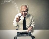 Old Man Typing