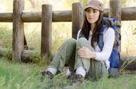 Cute brunette on a hiking trip