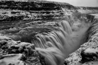 Gullfoss Waterfall, Iceland in winter (black and white)