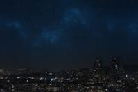 Starry night skye above the city
