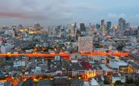 Night shot of Bangkok city, Thailand.