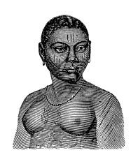 Mina woman (antique wood engraving)