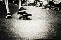 Skateboard foot closeup