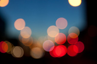 manahttan defocused light dots against black background