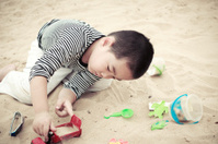 The beach asian boy, 5 years old