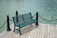Garden bench at lakeside