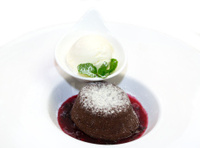 poppy seed cake with ice cream and strawberry jam