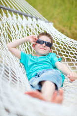 Cute boy in hammock