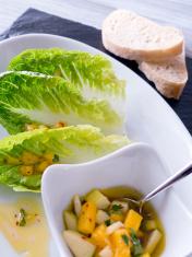 Romaine lettuce with apple mango vinaigrette