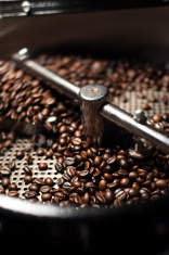 Fresh roasted coffee beans cool off