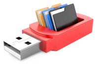 usb flash drive and folders