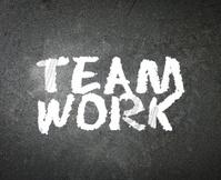 word Teamwork on blackboard
