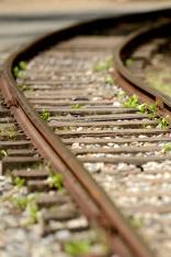 Curve railroad track close-up
