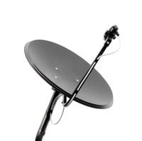 Black  satellite dish on whte