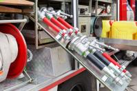 Firefighters equipment - inside a fire truck