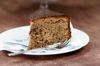 Piece of chocolate walnut cake