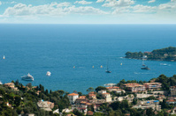 View of Monaco and many yachts in the bay