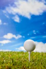 Golf stuff on green grass
