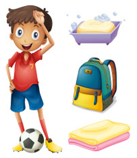 Soccer player with his backpack and bathroom stuffs
