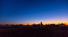 sunset  in suburban living area