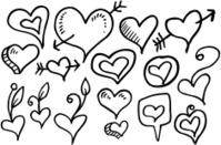 Valentines Doodle Heart Set