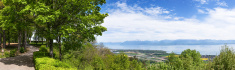 Panoramic view of the Leman Lake from Signal de Bougy