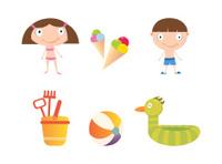 Children in the Summer Icon Set