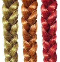 braid hair, three colored plaits isolated