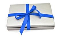 Box with blue ribbon