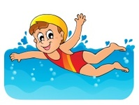 summer children going to swimming cartoon illustration. Black Bedroom Furniture Sets. Home Design Ideas