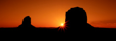 Panoramic view of famous Monument Valley at sunrise