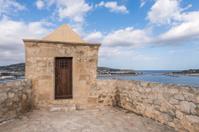Ibiza watchtower with Eivissa port view in Balearic islands
