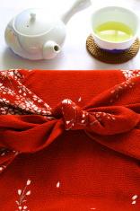 furoshiki wrapped present and green tea