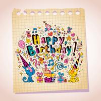 Happy Birthday cute kittens note paper cartoon sketch