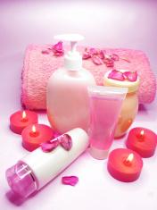 spa shampoo shower gel rose petals and cremes