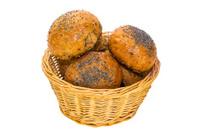 rye bread in a wicker basket