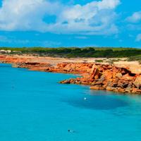 Cala Saona coast in Formentera, Balearic Islands, Spain