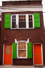 red doors, green window shutters