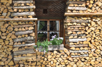 Window at a mountain hut