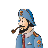Pirate Captain with Beard and Pipe