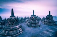 Monuments on Borobudur Temple in Java, Indonesia