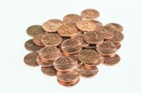 US pennies piled up