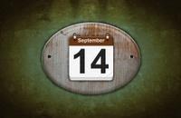 Old wooden calendar with September 14.