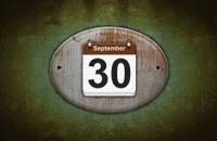 Old wooden calendar with September 30.