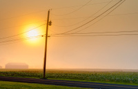 Rural road telephone pole