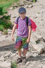 Boy on mountain trail