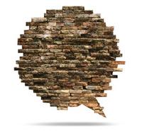 Brick wall texture of speech bubble background