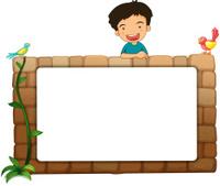 white board, a boy and birds